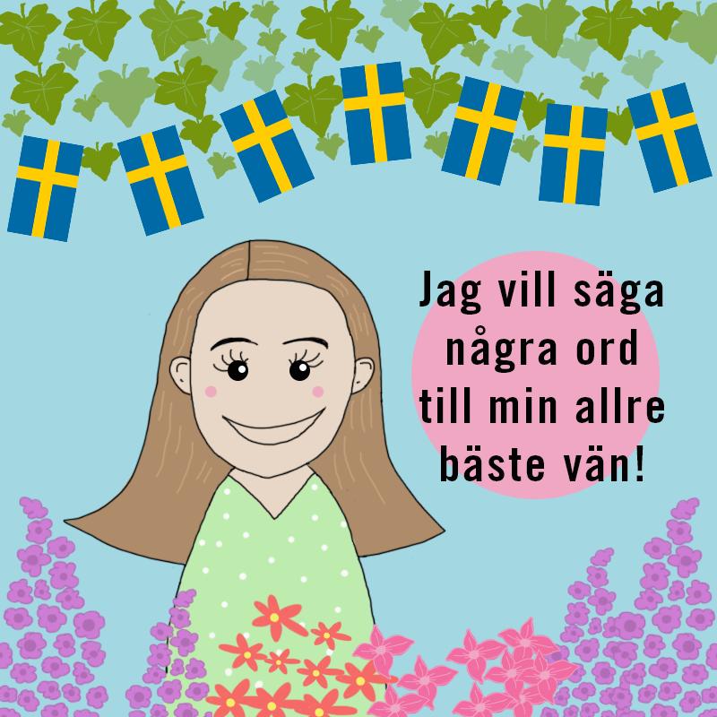 En glad flicka och svenska flaggor och gröna blad