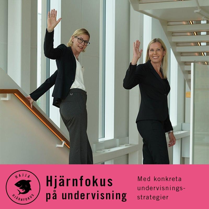Annika och Lena i en trappa som vinkar